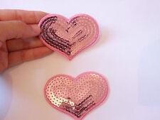2 grandi pink heart toppa paillettes applicazione motivo termoadesivo cucire
