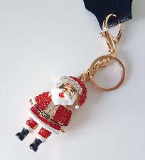 Gorgeous large gold tone & red diamante santa hand bag charm - keyring  * new*