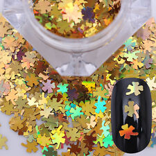 Champagne Gold Holographic Clover Glitters Nail Sequins 3D Stickers Decoration
