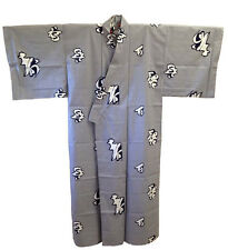 "Japanese Men's Cotton 61""L Yukata Kimono ""Fukuju"" Long Life Kanji, Made in Japan"
