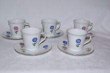 Vintage Seltmann Bavaria Porcelain Set 5 x Coffee Cup & Saucers Stylised Flowers