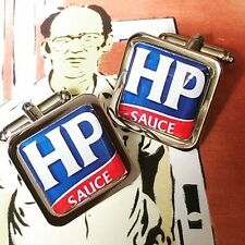 Unique! HP SAUCE CUFFLINKS  chrome BRITISH fry up BROWN SAUCE full english COOL!