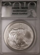 2010 American Silver Eagle ASE Dollar Coin Certified ANACS MS-70