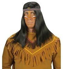 Mens Black Red Indian Chief Wig Mohican Mens Indian Brave Cowboys Fancy Dress