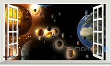 Earth Planet Universe 3D Window View Wall Decals Removable Stickers Kids Decor