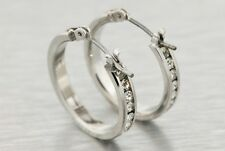 14k White Gold Plated CZ 19mm Hoop Earrings Mens Ladies Medium Fashion Style