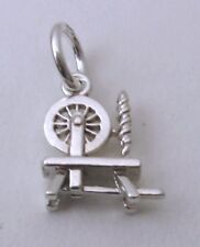 SOLID 925 STERLING SILVER 3D ANTIQUE SPINING WHEEL Charm/Pendant