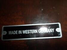 Typenschild f. porsche Mercedes made in Western germany S8