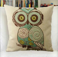 Vintage Linen Cotton Couch Sofa Cushion Cover Throw Pillow Green Owl 45X 45 cm