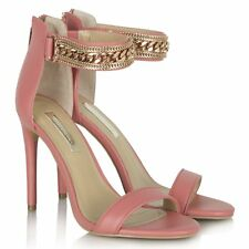 NEW Forever Unique Coral Gold Ankle Strap Chain Prom Sandal Heel Leather Shoe 4