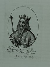 c1640 SMALL ANTIQUE PRINT HENRY I by ROBERT PEAKE
