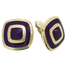 BRAND NEW VINTAGE INSPIRED ANTIQUE GOLD PLATED PURPLE CLIP-ON EARRINGS
