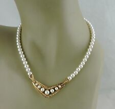 VINTAGE FAUX WHITE PEARL BEAD NECKLACE,CRYSTAL,GOLD PLATED,SIGNED STRING/STRAND