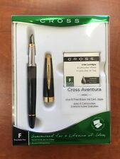 Cross Aventura Fountain Black Pen Plus 6 Free Black Ink Cartridges
