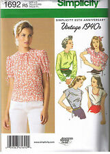 Vintage 40s Retro Tops Simplicity Sewing Pattern Plus Size 14 16 18 20 22