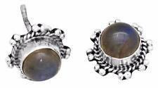 Labradorite Gemstone Stud Earrings Solid 925 Sterling Silver Jewelry IE21200