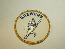 Vintage Retro Milwaukee Brewers MLB Baseball Round Sewing Patch - Batter Mascot