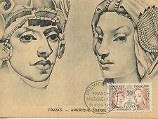 CARTE POSTALE MAXIMUM FRANCE AMERIQUE LATINE PARIS 1956