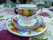 Vintage / Antique English China Trio Tea Cup Saucer Plate Bisto Fruit pattern