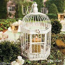 White distressed vintage style Bird cage Candle holder Lantern party centerpiece