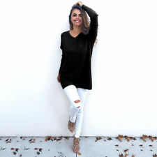 Womens V-Neck Chunky Knitted Oversized Baggy Sweater Shirt Jumper Tops Dress