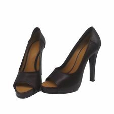 GIVENCHY BROWN LEATHER OPEN TOE HIGH HEELED PUMP Sz 38.5