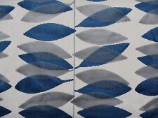 SANDERSON CURTAIN/UPHOLSTERY FABRIC MIRO 3.6 METRES BLUE AND SILVER CUT VELVET