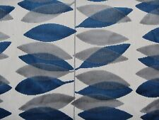 SANDERSON CURTAIN/UPHOLSTERY FABRIC MIRO 0.95 METRE BLUE AND SILVER CUT VELVET