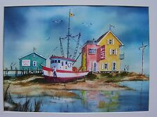 ART WATERCOLOR LASER SEASCAPE SHRIMP BOAT COAST REALISM 11x15 ARTIST SIGNED