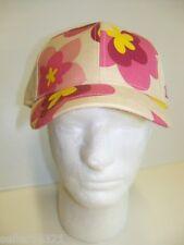 Shred Alert Baseball Cap w/ Bill.  Tan Hat w/ Pink Flower Design. SAW74