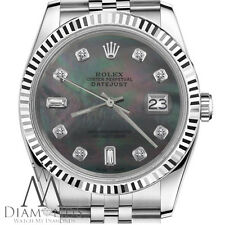 Mens Rolex 36mm Datejust Black Tahitian MOP Mother Of Pearl w 8+2 Diamond Face