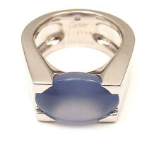 AUTHENTIC CARTIER 18K WHITE GOLD LARGE CHALCEDONY RING, SIZE 52 US 6, PAPERS