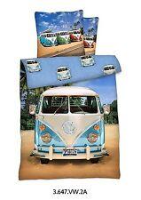 BIANCHERIA DA LETTO IN LINONE 135x200 + 80x80 BUS DI VW/100% COTONE VOLKSWAGEN