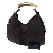 Auth Yves Saint Laurent Mombasa Deer Horn Shoulder Bag Brown Canvas VTG K07570
