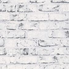 9078-37 Grey White Distressed Vintage Painted Brick Effect Wall Wallpaper