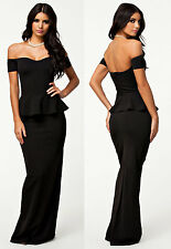 Stunning Black Peplum Off Shoulder Mermaid Fishtail Maxi Dress 10 12 14 16 18 UK