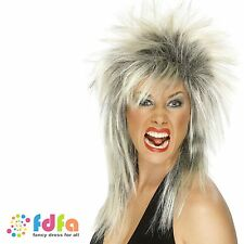80s BLONDE & BLACK ROCK DIVA LONG MULLET WIG - womens ladies fancy dress