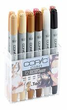 COPIC CIAO MARKER - 12 PEN SKIN TONES SET - TWIN TIPPED - 12 UNIQUE COLOURS