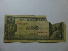 Old Bolivia Paper Money Currency - #158 1962 1 Peso Boliviano Well Circ pce msg.