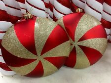 "Christmas Holiday Hanging Ornament Red Gold Peppermint Candy SWIRL XL 10"" S/2"