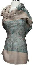 Schal Taupe Paisley Wolle Seide Cashmere wool silk scarf écharpe foulard sciarpa