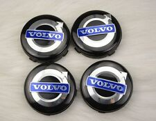 4 VOLVO Black/Blue Badge 64mm Alloy Center Caps C70 S40 V50 S60 V60 V70 S80 XC90