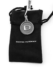 """DAVID YURMAN AMAZING SOLID STERLING SILVER INITIAL """"D"""" 23 mm ROUND PENDANT NEW"""