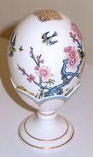 Minton Porcelain Egg w Egg Holder 3 Little Birds Pink Yellow Flowers Gold Gilt