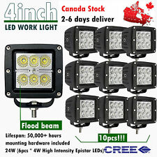 10x 4inch Cree LED Flood Work Light Bar Pods Offroad SUV ATV UTE Truck 4X4 Boat