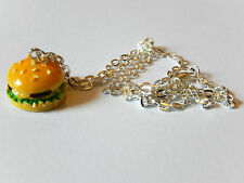 Cheese Burger Necklace Cute Retro Food Novelty Kitsch Kawaii Chain Charm Pendant