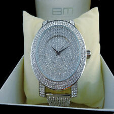 MENS 14K WHITE GOLD FINISH LAB DIAMOND ICED OUT TECHNO KC BLING MASTER WATCH NEW