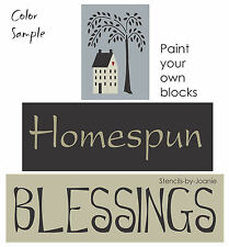 Primitive STENCIL Homespun Blessings Willow Tree Saltbox House Family Sign Block