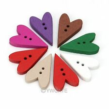 100pcs Heart Wood 2 Holes Sewing Button Scrapbooking 24mm Wholesale