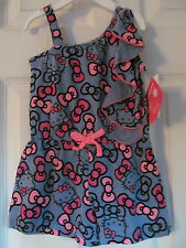 NWT Girl's Hello Kitty & Bows Sleeveless one piece romper Gray & Pink Size 18-24